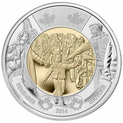 Canada Toonie 2 Dollars Coin Special The 75th Anniversary of Word War II 2014