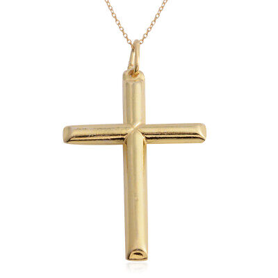 14K Yellow Gold Over 925 Sterling Silver Cross Chain Pendant Gift Necklace