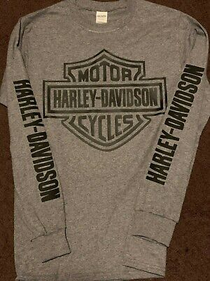 Harley Davidson Graphite Grey Long Sleeve T-Shirt With Large Bar & Shield