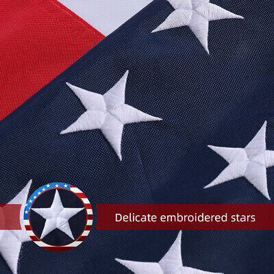 3X5 Ft US Flag 420D Nylon Embroidered Stars  Brass Grommets US Flag Made IN USA