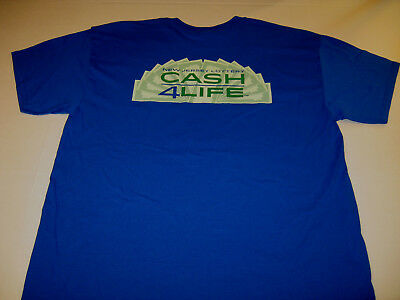 State of New Jersey Lottery Game - Cash 4Life 4 Life - Blue T-Shirt - New! LARGE