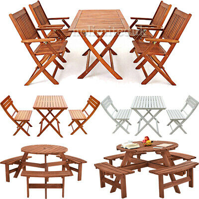 Graden Wooden Furniture Set Solid Wood Outdoor Patio Dining Table Chairs Set UK