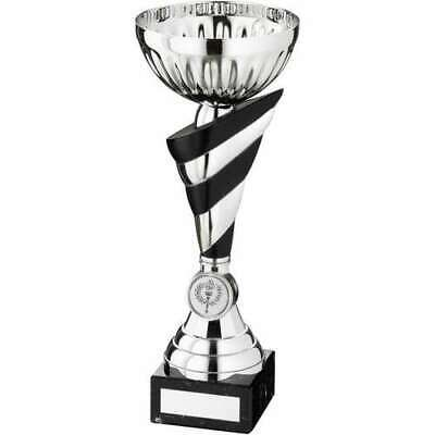 Striped Stem Trophy Cup Award 11in Silver Black FREE Engraving