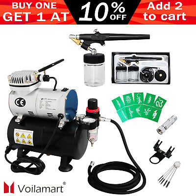 1/6 hp Airbrush Compressor Kit 0.8mm Needle Dual Single-Action Dual Spray Gun