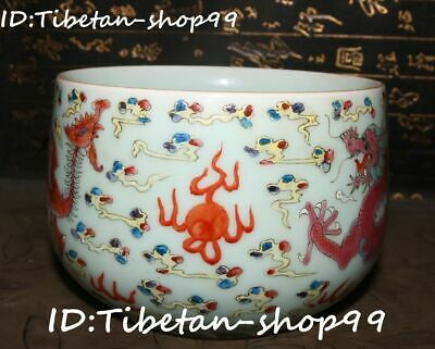Chinese Color Porcelain Dragon Phoenix Feng Shui Nest Cup Bottle Cylinder Bowl
