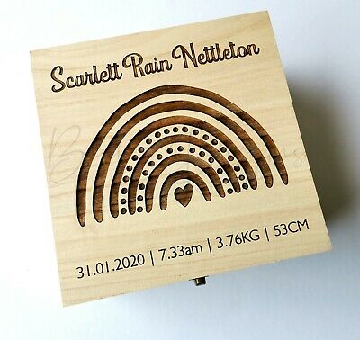 Baby Keepsake Square Box 16cm Birth Time Capsule Babies Wooden Personalised