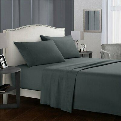 Queen / King / Single Bed Fitted Flat Sheet Set Pillowcase Microfiber Bed Sheet