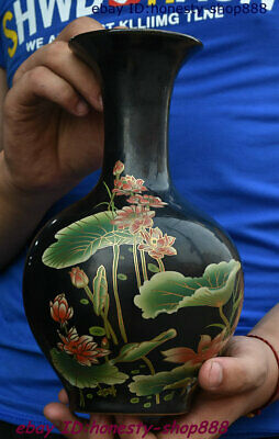 Collect Old China Black Glaze Porcelain Enamel Lotus Flower Bottle Wine Vase Pot