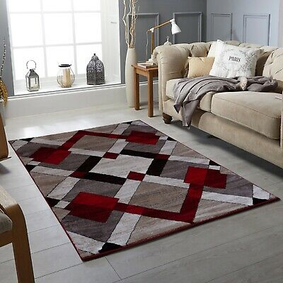 Modern Red Blocks Rug High Quality Living Room Rug Thick Pile Rugs at Low Cost