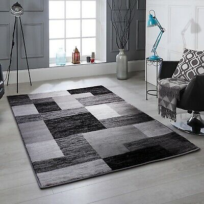Modern Black Blocks Rug High Quality Living Room Rug Thick Pile Rugs at Low Cost