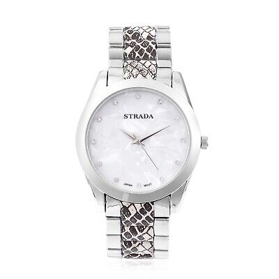 STRADA Crystal Japanese Movement Snake Pattern Watch in Silvertone with Steel