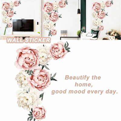 Fresh Peony Flower Wall Sticker Living Room Mural Decal Home Art Decor Gift TR