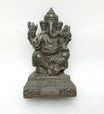 Antique Vintage Brass Hand Engraved Murti Statue Figure Hindu God Ganesh MP3002