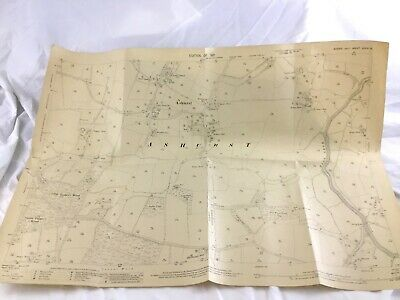 1911 Antique Map of Ashurst Village Horsham District of West Sussex Old Copy