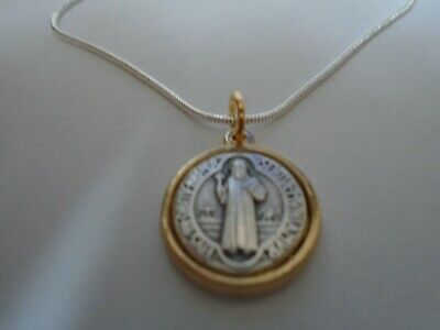 """St Benedict Gold Silver Medal Pendant ITALY 925 Snake Chain Necklace 20"""""""