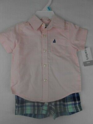 Carters Baby Boy 6M 2-Piece Button Front Shirt Plaid Shorts 2pc Set Pink NWT