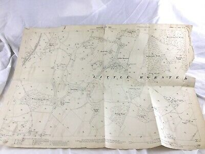 1910 Antique Map of East Sussex Little Horsted Village Wealden District Parish