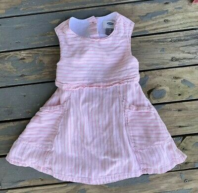 Old Navy 2T Pink Striped Cotton Dress With Front Pockets, Back Opening & Buttons