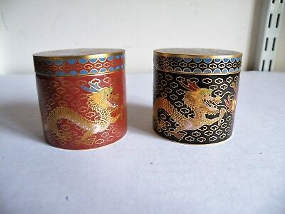 A Vintage Pair Of Cloisonne Enamel Cylindrical Trinket Boxes