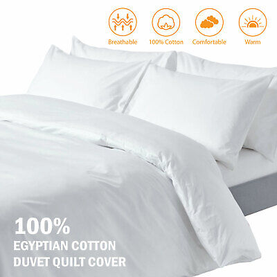 Hotel Quality 100% Egyptian Cotton Duvet Cover + Pillow Cases 400TC Bedding Sets