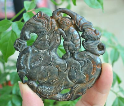 Chinese ancient old hard jade hand-carved pendant necklace~Horses and monkey M57