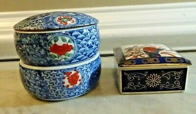 Vintage Asian Stacking Boxes, Blue & White, Small Box - 2 Items, 5 Pcs Japan