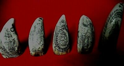 Fantastic Five Miniature Collectable teeth Faux Scrimshaw Superb Quality SRP£60