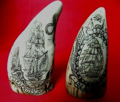 Miniature Scrimshaw Teeth The Stenrofjord & The Dakota 2 Museum Quality Items