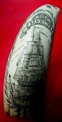 """The Ship Mercury"" dated 1862 Faux Scrimshaw detailed miniature tooth.RRP £20+"