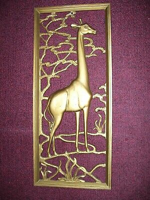 Vintage Metal African Wall Art Giraffe Wall Hanging Gold Color