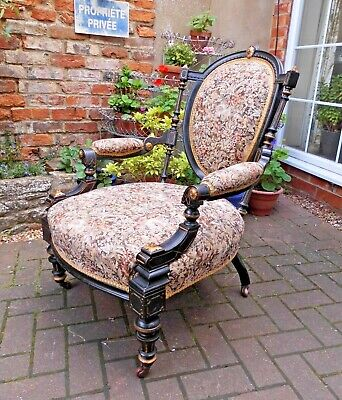 Lovely Victorian Aesthetic Movement Parlour Fireside Chair~Pad Armrests~Castors