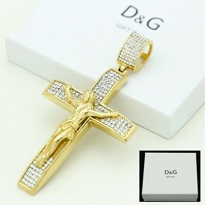 DG Men's Stainless Steel,Gold JESUS CROSS 90mm Large CZ Pendant.Unisex,Box