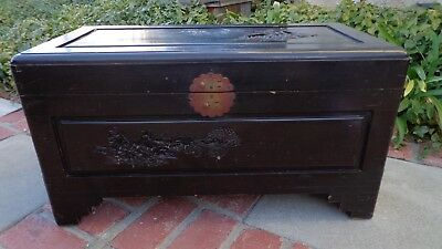 Oriental Trunk Black Lacquer Wood with Carvings 1950s Vintage LA or SLO pickup