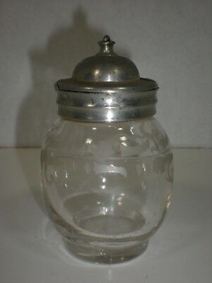Antique MUSTARD JAR Pot Etched glass