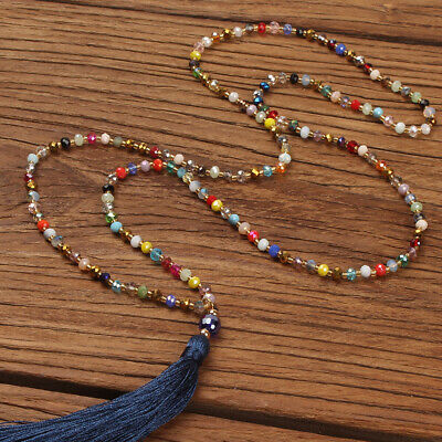 Color Beaded Fringed Women's Necklace Bohemian Long Sweater Chain Travel Gift