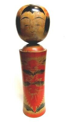 "KOKESHI Signed 15"" Wooden Doll Japan ca1920 Crimson Decoration"