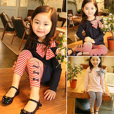 2PCS Kids Baby Girl Bowknot Tops Striped Pants Outfits Casual Spring Clothes Set