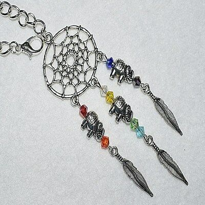 Elephant Dream Catcher Feather Chakra Rear View Car Mirror Charm Test Pass Gift