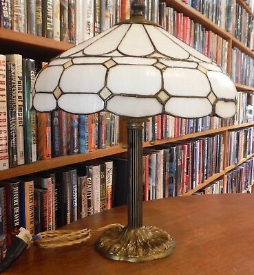 Antique Leaded Bent Stained Glass Lamp Miller Bradley & Hubbard Handel Style