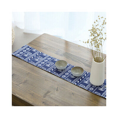 Blue Elephant Print Table Runner Cotton Linen Cloth for Wedding Home Party Decor