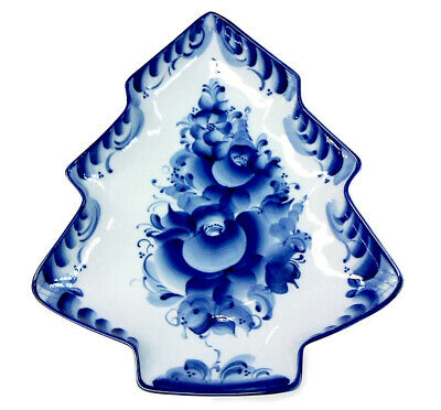 Christmas Tree Shaped Russian Gzhel Porcelain SERVING DISH
