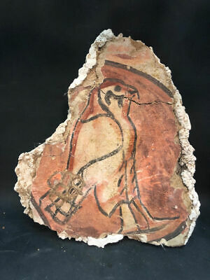 Ancient Egyptian polychrome mud wall fragment with Horus c.1050 BC.
