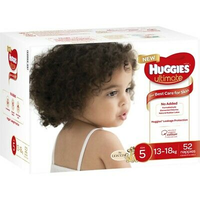 Huggies Ultimate Unisex Nappies, Size 5 (13-18kg) 52 Pack