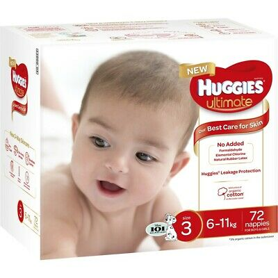 Huggies Ultimate Unisex Nappies, Unisex Size 3 (6-11kg) - 72 Pack