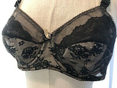 Vintage 1950s Sheer Black Lace Overlay BRA Pin-Up Brassiere