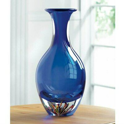 """Stunning Blue Art Glass 13""""Vase Hand Crafted Unique Home Decor Accent Decorative"""