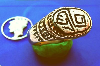 CV Celtic Bronze Ring HEAVY KNOTWORK MAGIC SWIRLS ~Massive Heavyweight sz 10 1/2