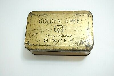 Antique Late 1800'S Golden Rule Crystalized Ginger Medical Tin ~ Empty