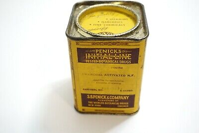 Antique Late 1800'S Penick's Initial Line Charcoal Activated Drug Tin Half Full