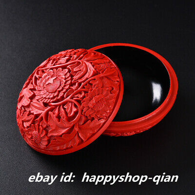 "3.9"" Chinese Lacquerware Carved Pretty Sunflower Flower Round Jewelry Powder Box"